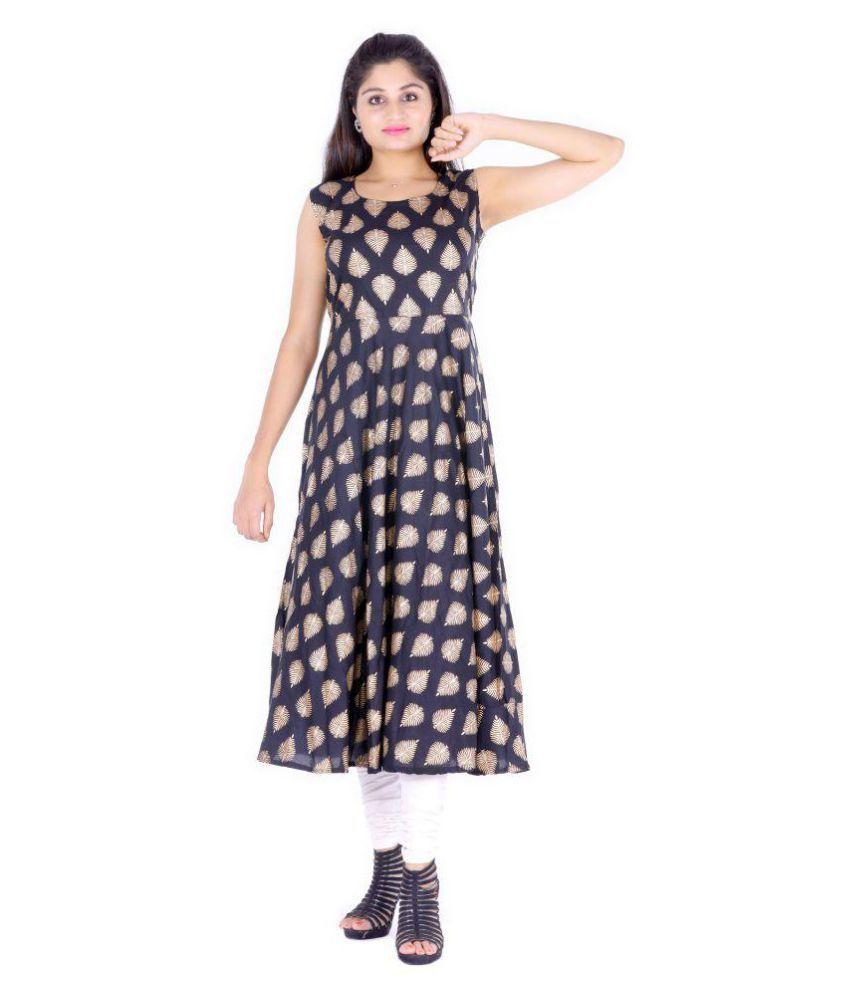Dhruvi Rayon Black A- line Dress