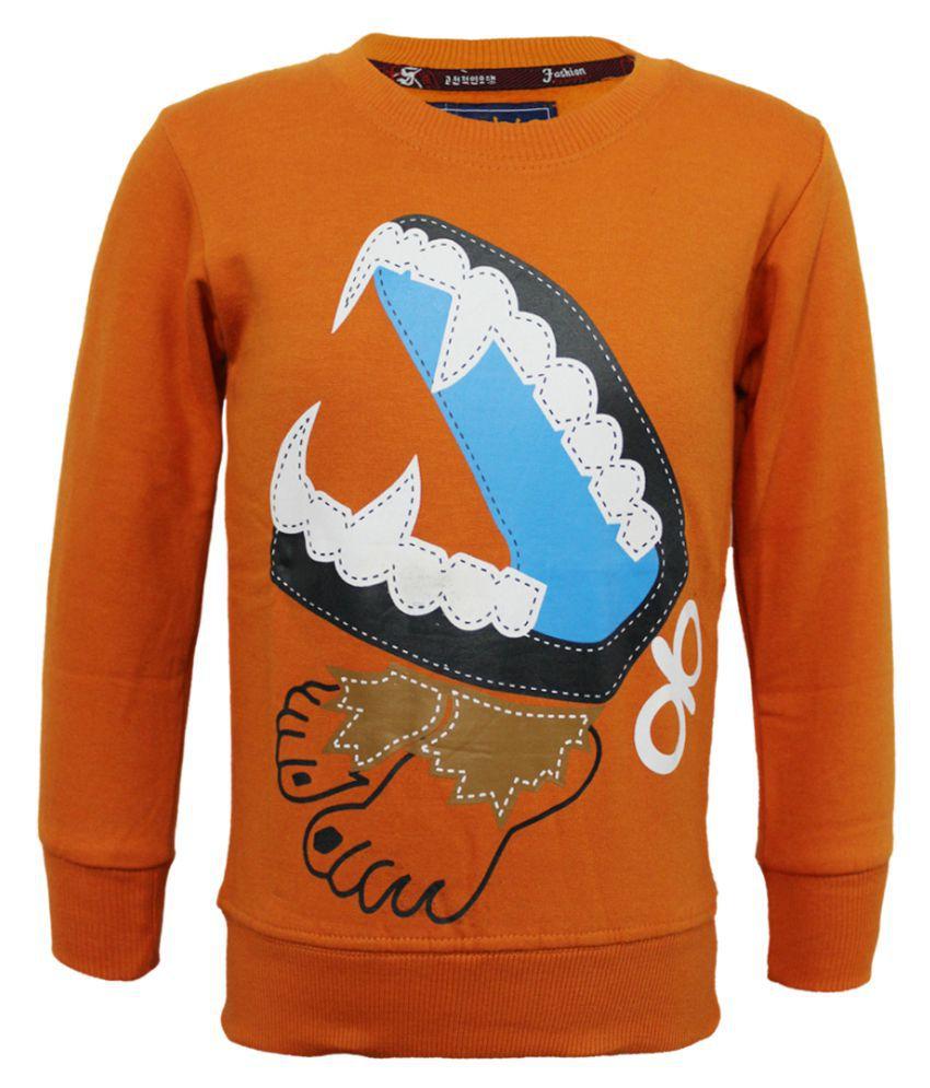 Kothari Boys Full Sleeves Printed  Peach Color Fleece Regular Fit Boys Sweatshirt