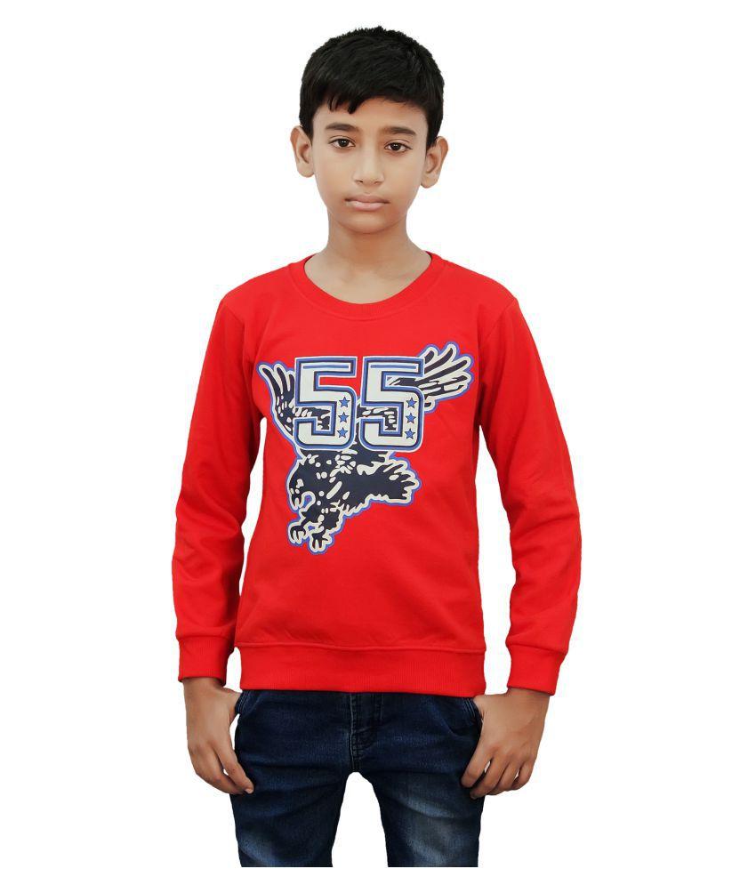 Kothari Boys Full Sleeves Printed  Red Color Fleece Regular Fit Boys Sweatshirt