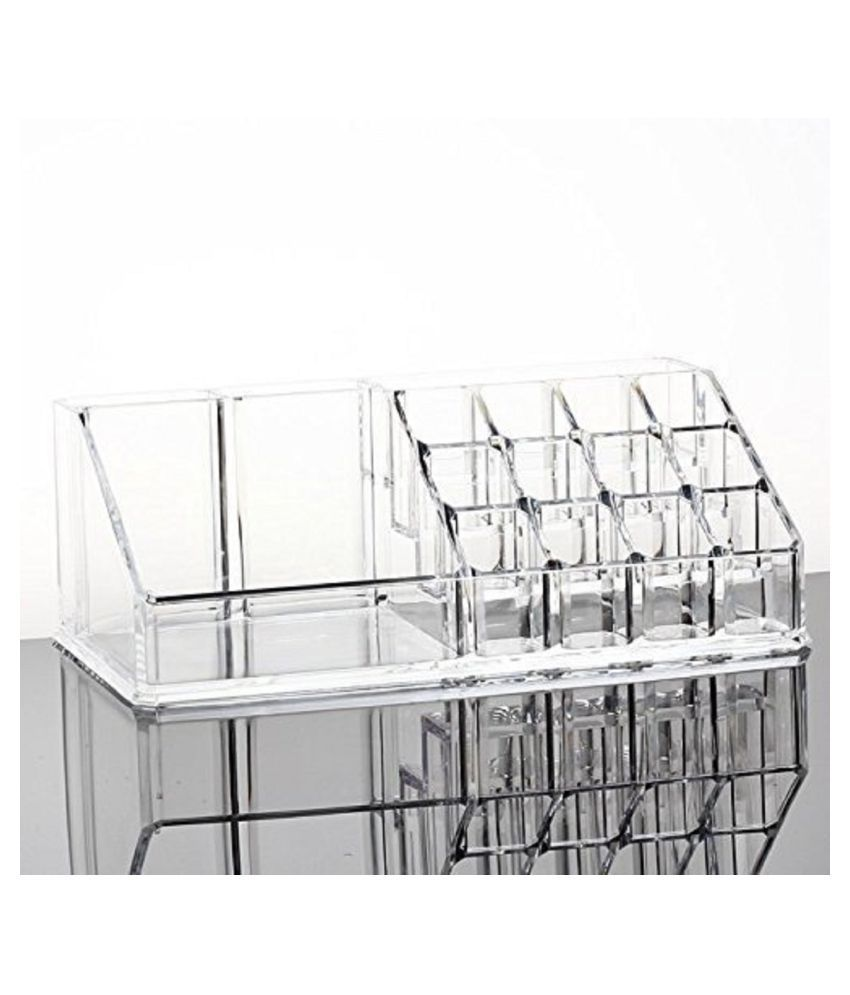 Everbuy 16 Slot Acrylic Makeup Organizer 3 Drawers with Removable Mirror Cosmetic Organizers 16 Slot 3 Drawers White