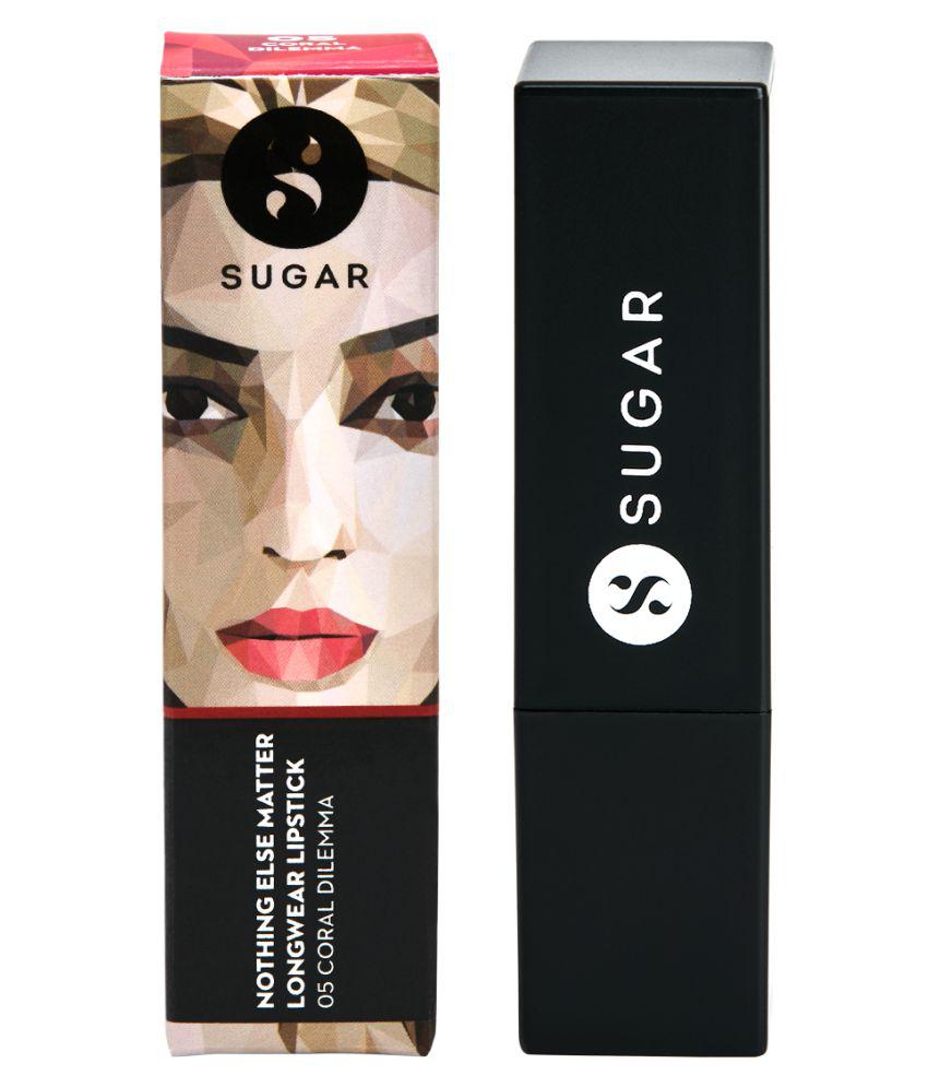 Sugar Cosmetics Nothing Else Matter Longwear Lipstick 05 Coral Dilemma (Bright Orange Red) 3.5 gm