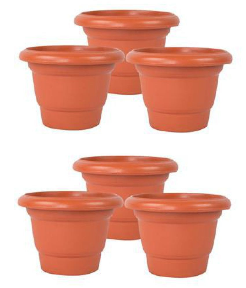 243 & Plastic 12 Inch Set Of 6 Flower Pots/ Planters/ Container - Brown