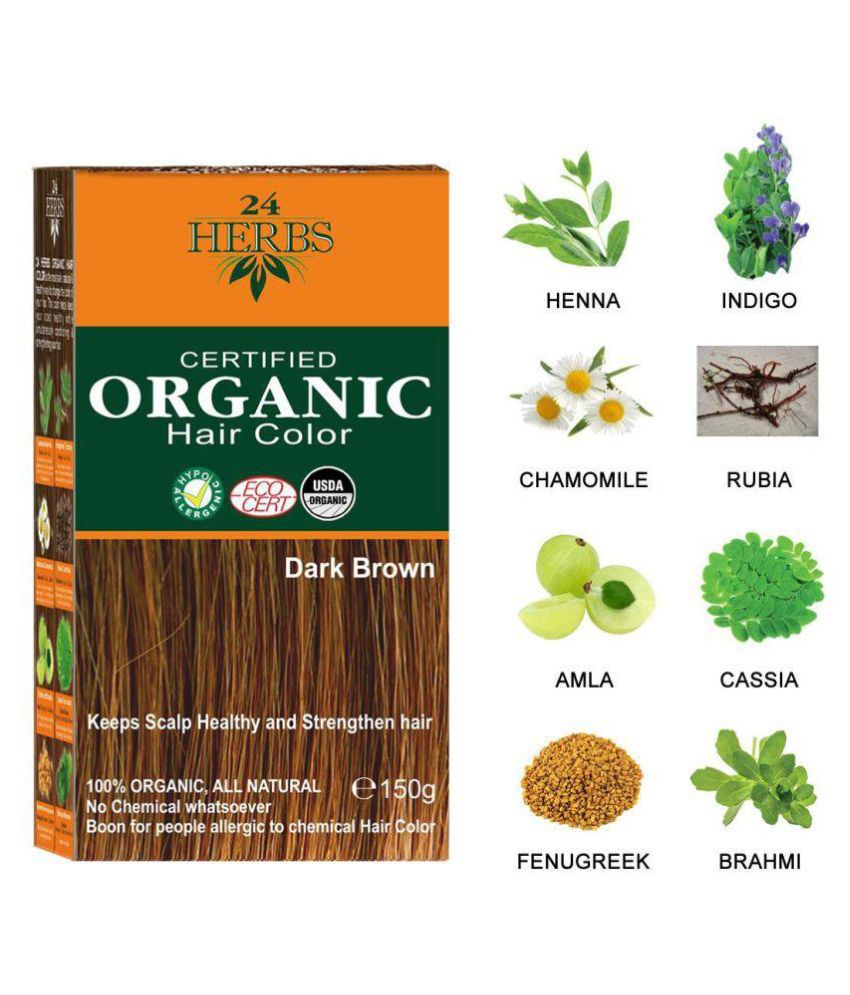 24 HERBS Certified Organic Dark Brown Hair Color Semi Permanent Hair Color Dark Brown Dark Brown 150 gm