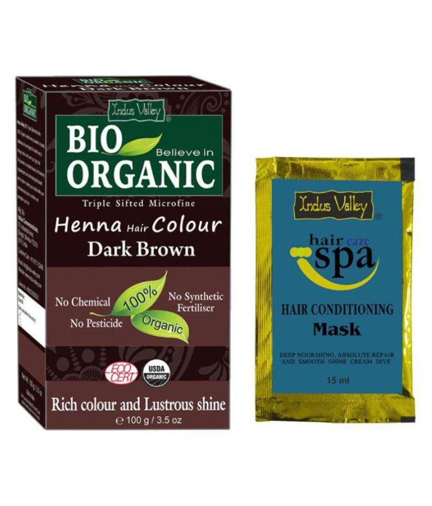 Indus Valley BIO Organic Dark Brown Henna with Free Eaze Hair Spa Sachet Semi Permanent Hair Color Dark Brown 100 gm