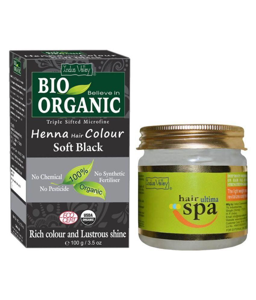 Indus Valley BIO Organic Soft Black Henna with Ultima Hair Spa For Shiny Hair Semi Permanent Hair Color Black Soft 300 gm Pack of 2
