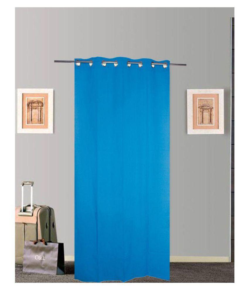 Tidy Single Door Eyelet Cotton Curtains Blue