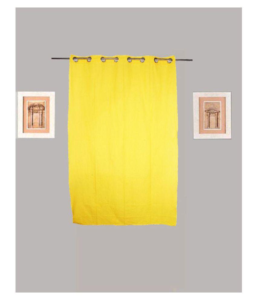 Tidy Single Window Eyelet Cotton Curtains Yellow
