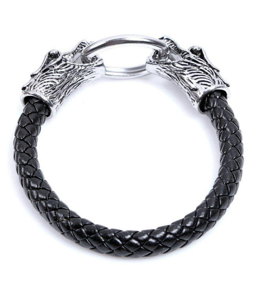 YOLO 1 Set Black Leather Bracelet Men's Bead Retro Punk Casual Jewelry Accessories