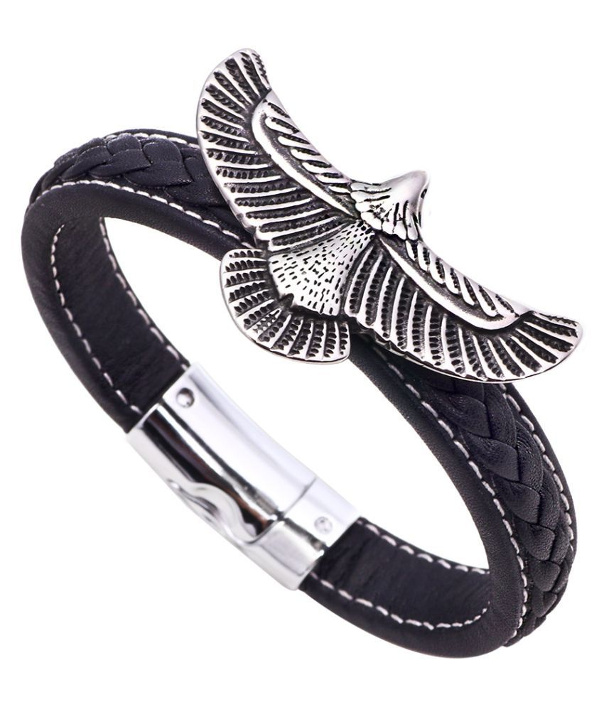YOLO 1 Set Black Leather Bracelet Men's Bead Retro Punk Casual Jewelry Accessories