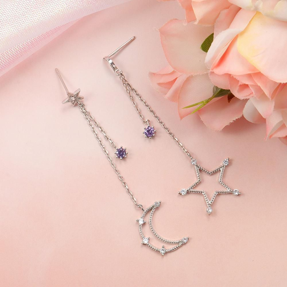 Sweet Ear Drop Hollow Stars Moons Geometric Round Zircon Tassels Earrings Jewelry for Women