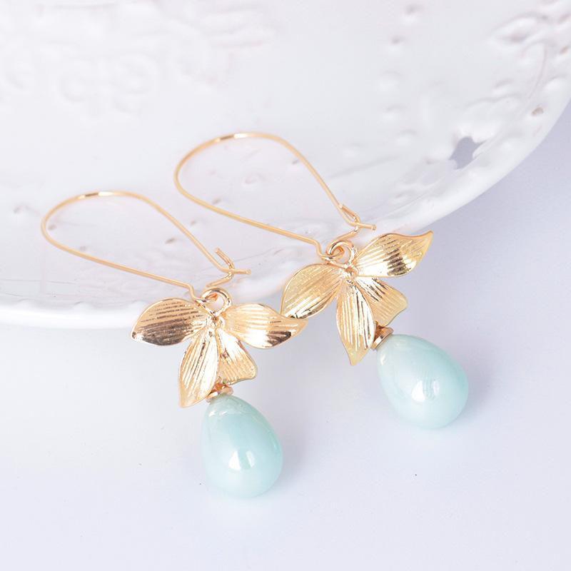 Sweet Ear Drop Earrings Gold Flower Oval Artificial Pearl Water Drop Pendant Earrings for Women