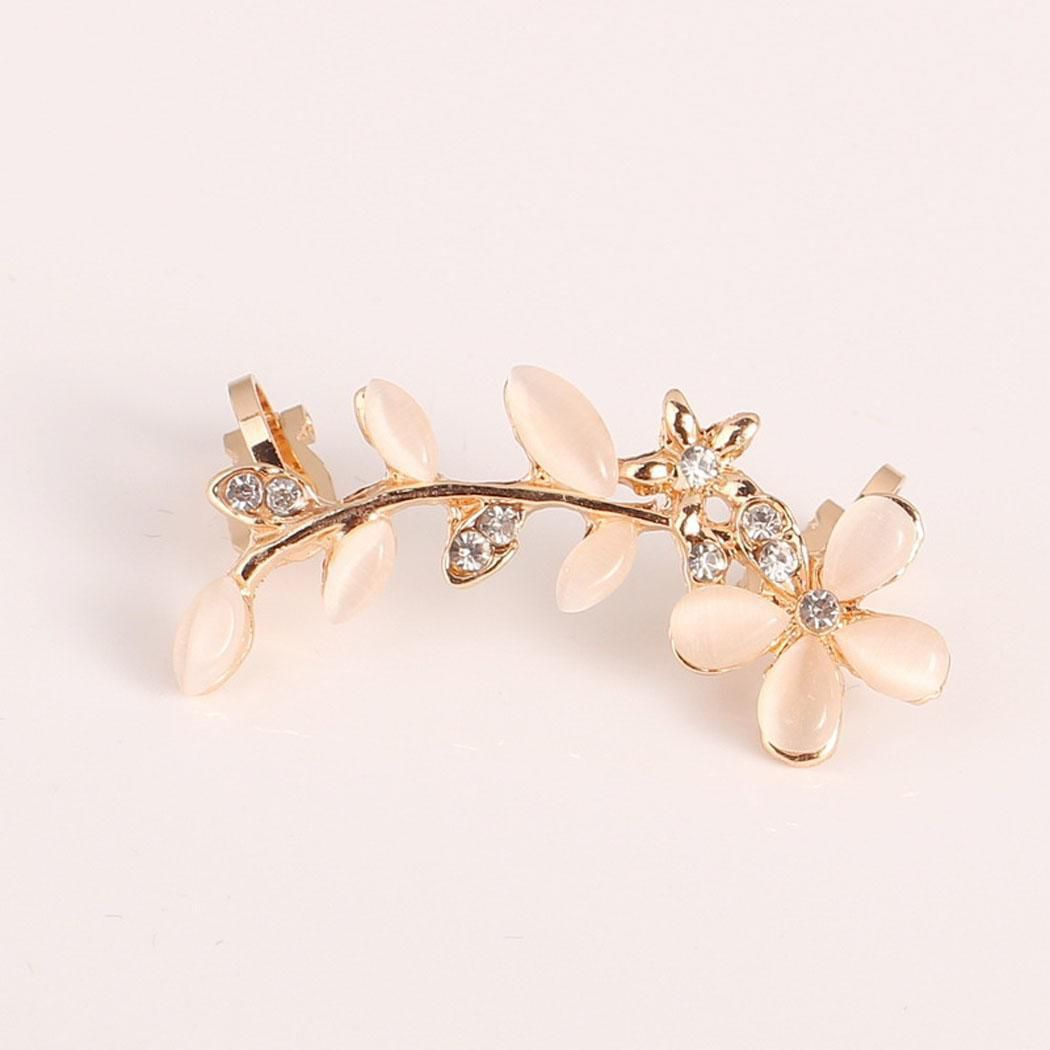 Women Fashion Trendy Style Flower Rhinestone Ear Clip Jewelry Gift