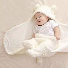 Brandonn White Flannel Baby Blanket ( 75 cm × 75 cm- 1 pcs)