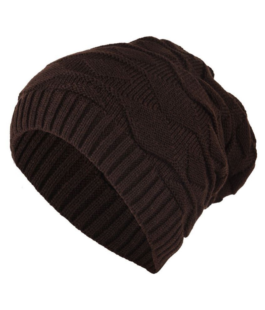 DRUNKEN Warm Winter Womens Mens Slouchy Soft Stretch Cable Knitted Slouchy  Beanie Caps Skully Hat Brown  Buy Online at Low Price in India - Snapdeal 581d2f59e58