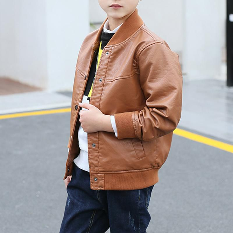 Solid Color Boys Kids Windbreaker Jacket Coat Leather Clothing For 6Y-15Y