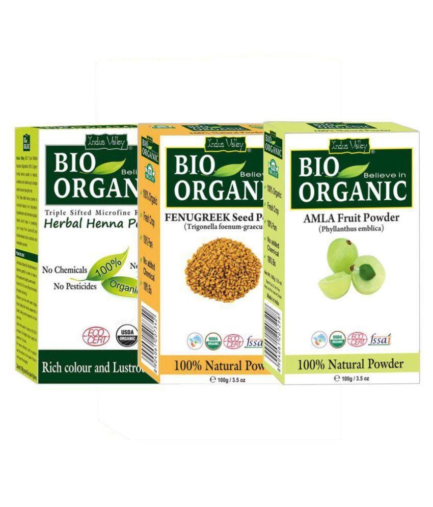 Indus Valley 100% Organic Herbal Henna Powder,Amla Powder & Fenugreek  Powder For Promotes Hair Growth And Curbs Hair Loss- Set of 3 (300 gm)
