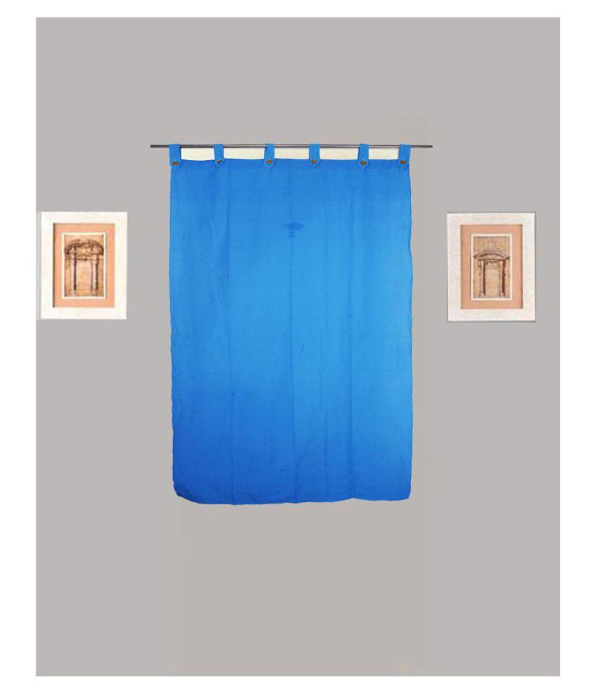 Tidy Single Window Loop Cotton Curtains Blue