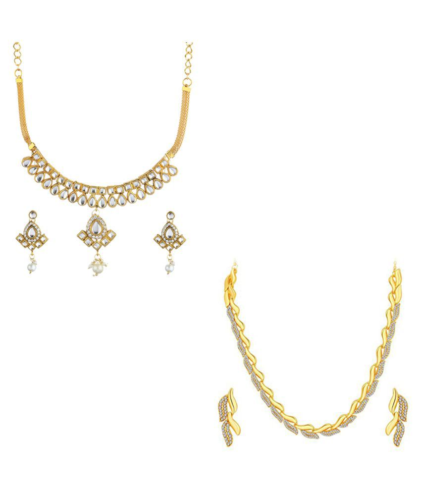 1845e2cf1 Zeneme Alloy Multi color Contemporary Designer Gold Plated Necklace set  Combo - Buy Zeneme Alloy Multi color Contemporary Designer Gold Plated Necklace  set ...
