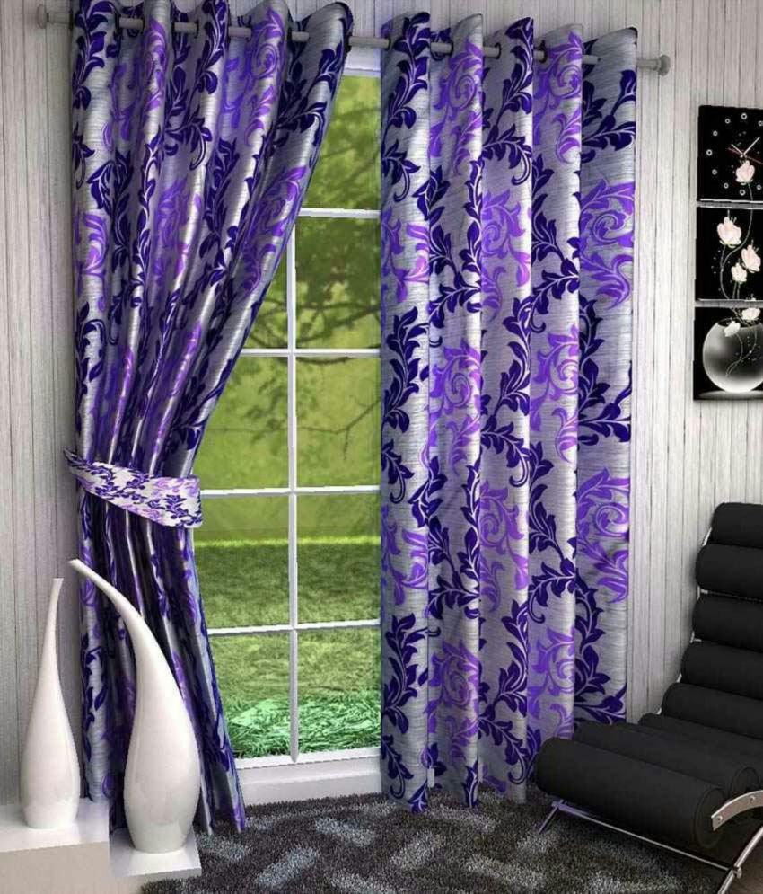 Swarnadeep Set of 2 Door Semi-Transparent Eyelet Polyester Curtains Purple