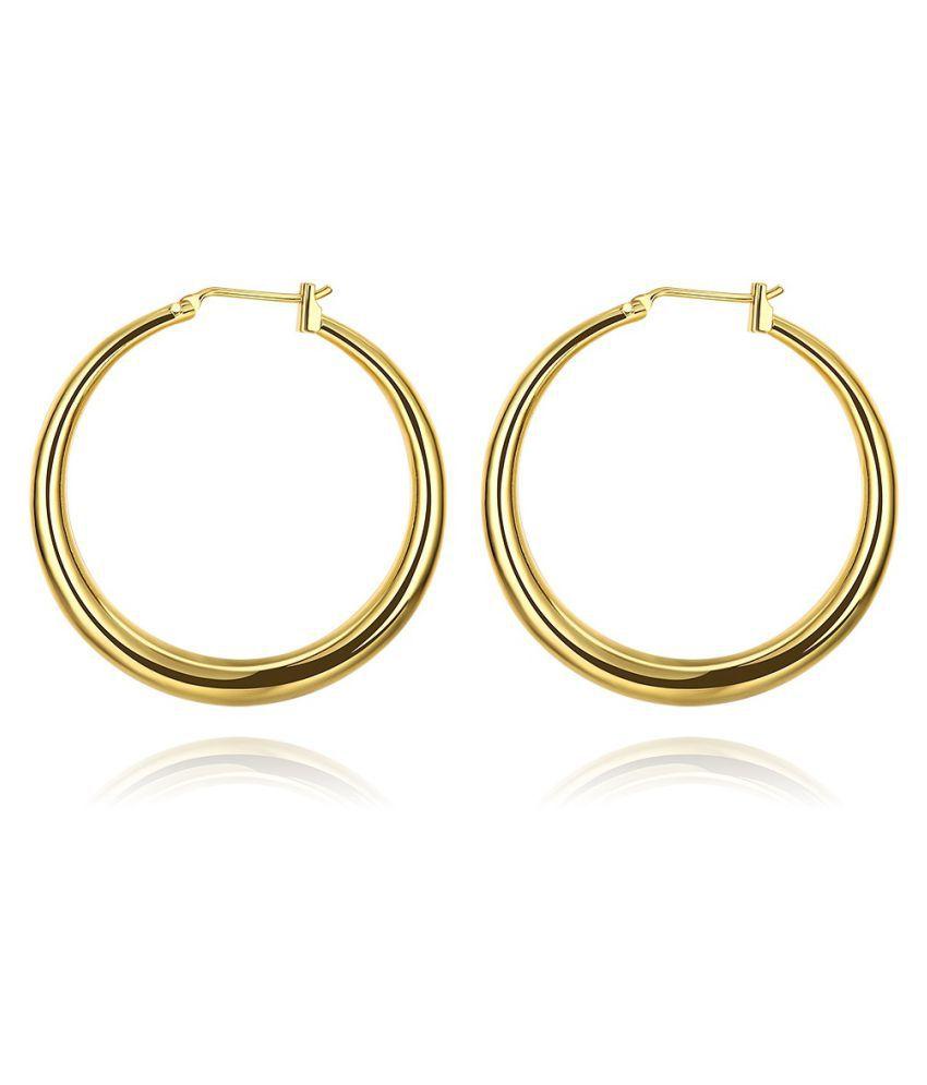YOLO 1 Pair Golden Geometric Stud Earrings For Women Statement Jewelry
