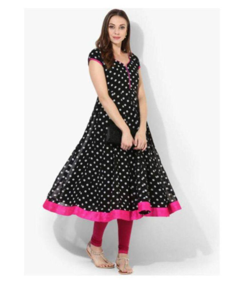 shree wow Black Crepe Anarkali Kurti