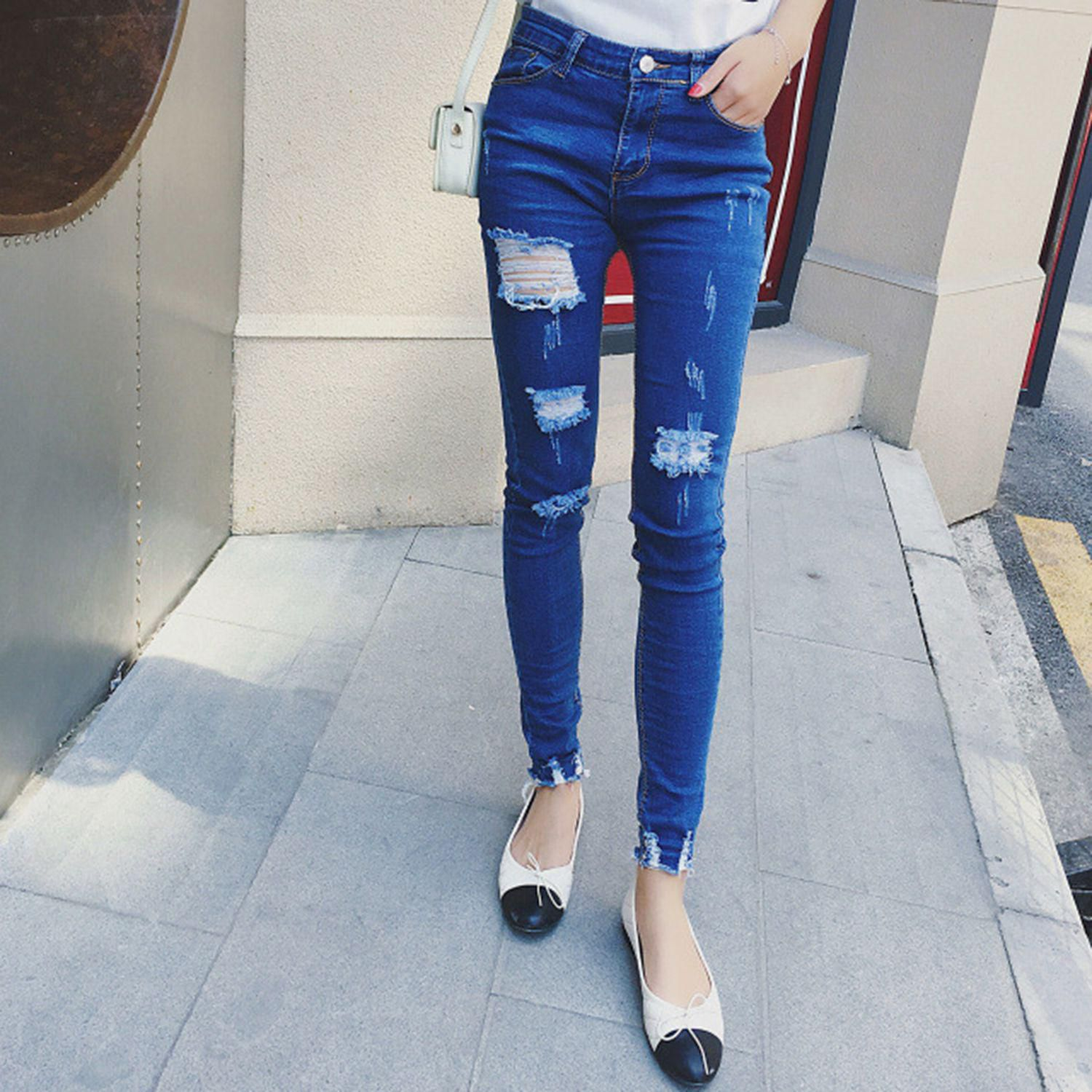 High Waist Jeans Slim Tight Straight Trousers Hole Pants Woman Fashion Jeans