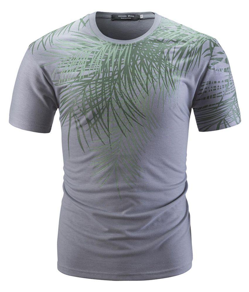 Leaves Printed Men Short Sleeve T-Shirt Summer Breathable Male Tees Shirts