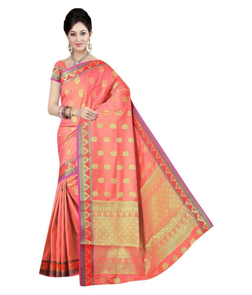 Winza Designer Peach Banarasi Silk Saree