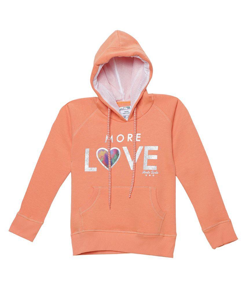 Monte Carlo Peach Solid Cotton Hood Sweatshirts