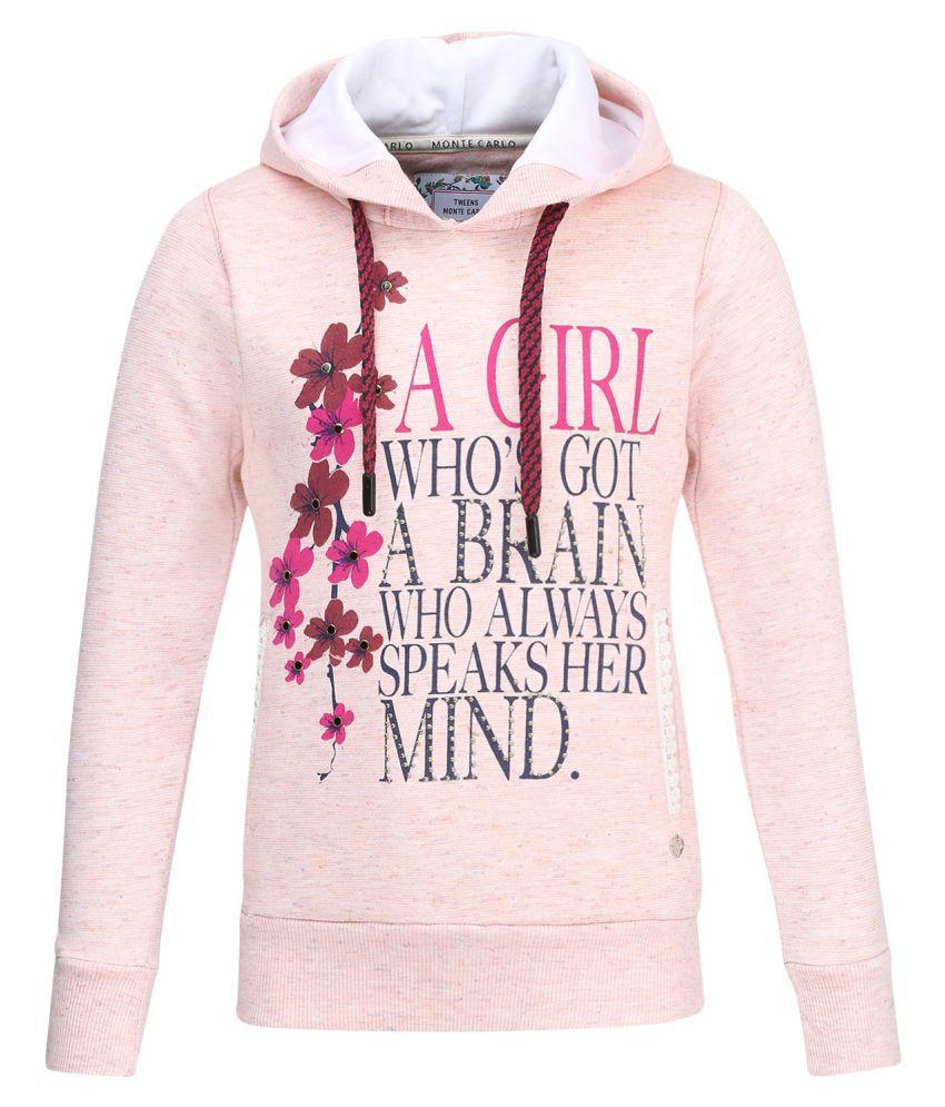 Monte Carlo Pink Printed Cotton Hood Sweatshirts
