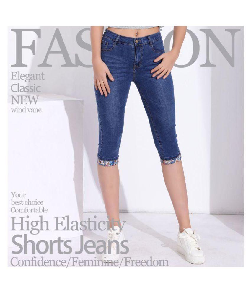 9f16b099bf778 ... Summer Skinny Jeans Capris Women Stretch Knee Length Denim Pants High  Waist Women s Jeans Plus Size ...