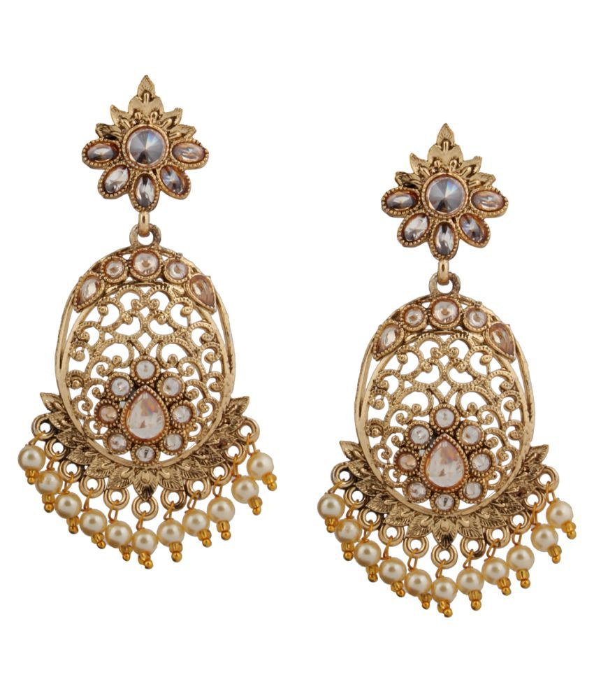 Piah Fashion Gold Plated Tradational Full LCT Stone Earring For Women and Girl