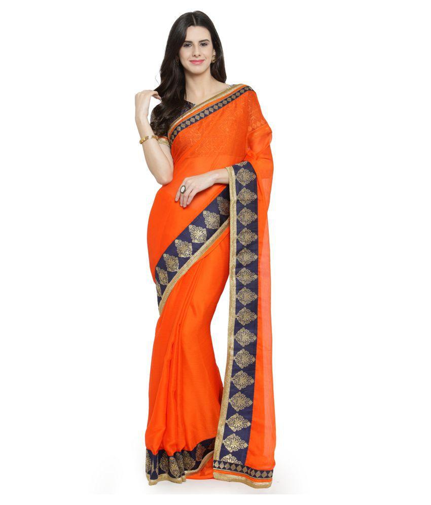 Shaily Retails Orange Chiffon Saree