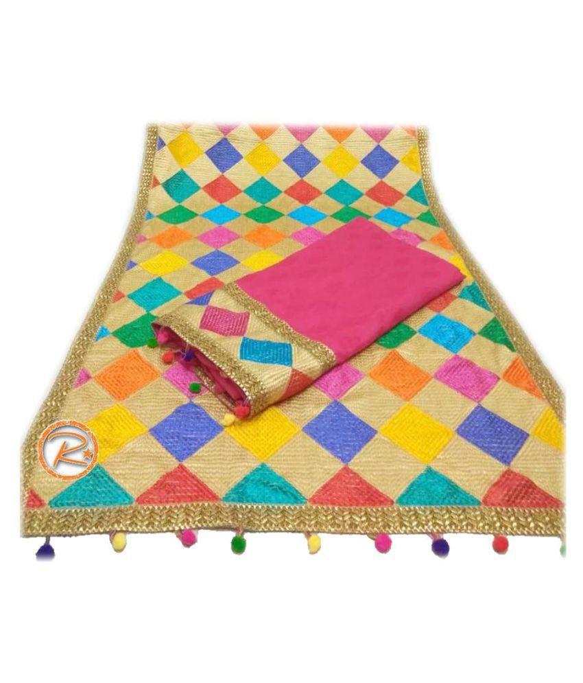 AVNI FASHION Pink Cotton Silk Dress Material