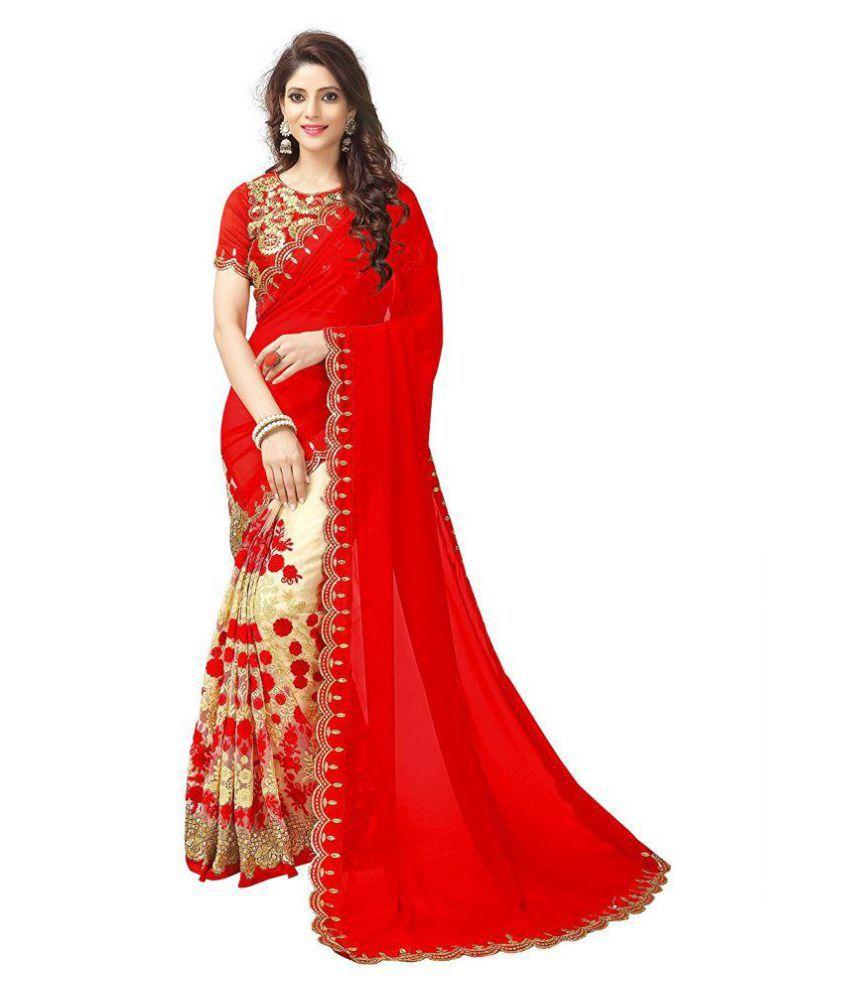 ac48a68a1d Vinayak Textile Red Georgette Saree - Buy Vinayak Textile Red Georgette  Saree Online at Low Price - Snapdeal.com