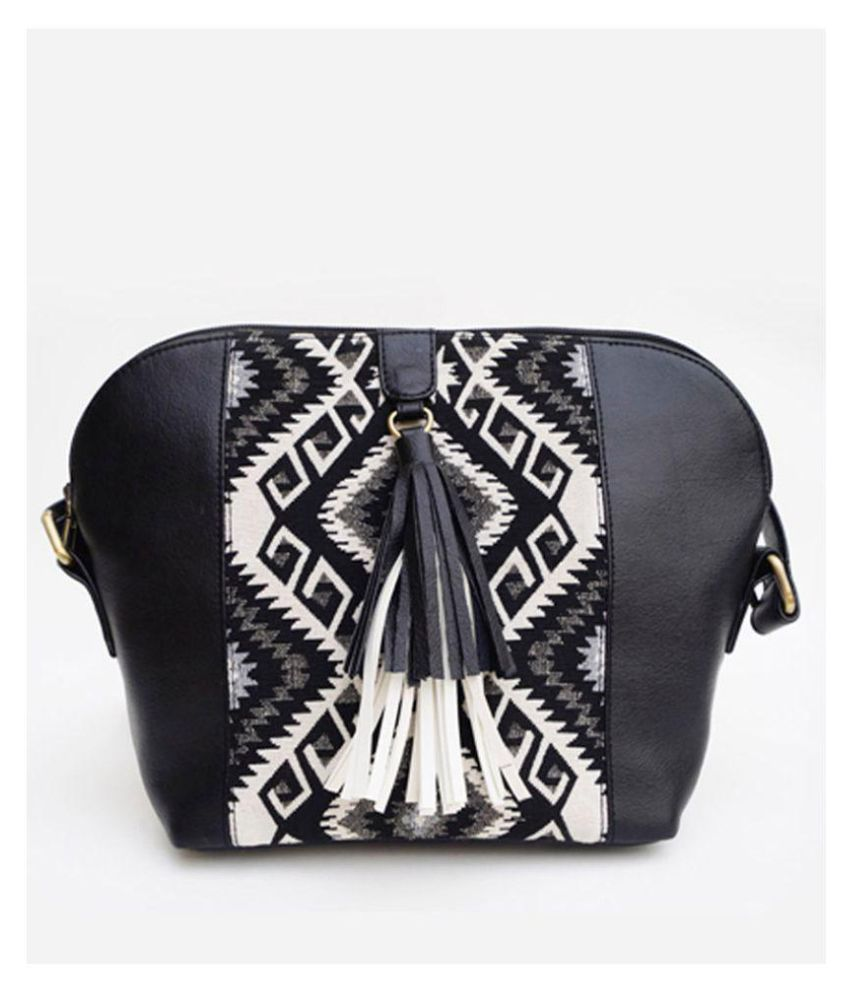 Carry On Bags Black Woven Sling Bag