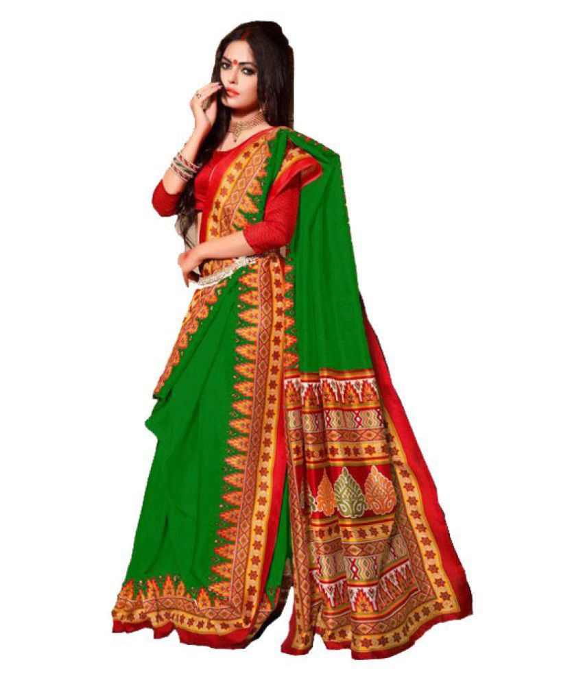 c3e27a26ab599e DPcollection Women s Patola Silk green Color Saree With Unstitched Blouse  Piece … - Buy DPcollection Women s Patola Silk green Color Saree With  Unstitched ...