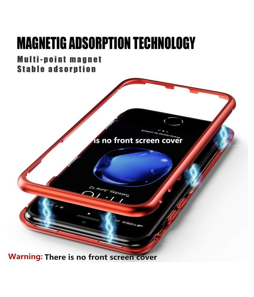 OnePlus 6T Magnetic Cover Case YGS - Red Original Magnetic Metal Bumper  Glass Back Case