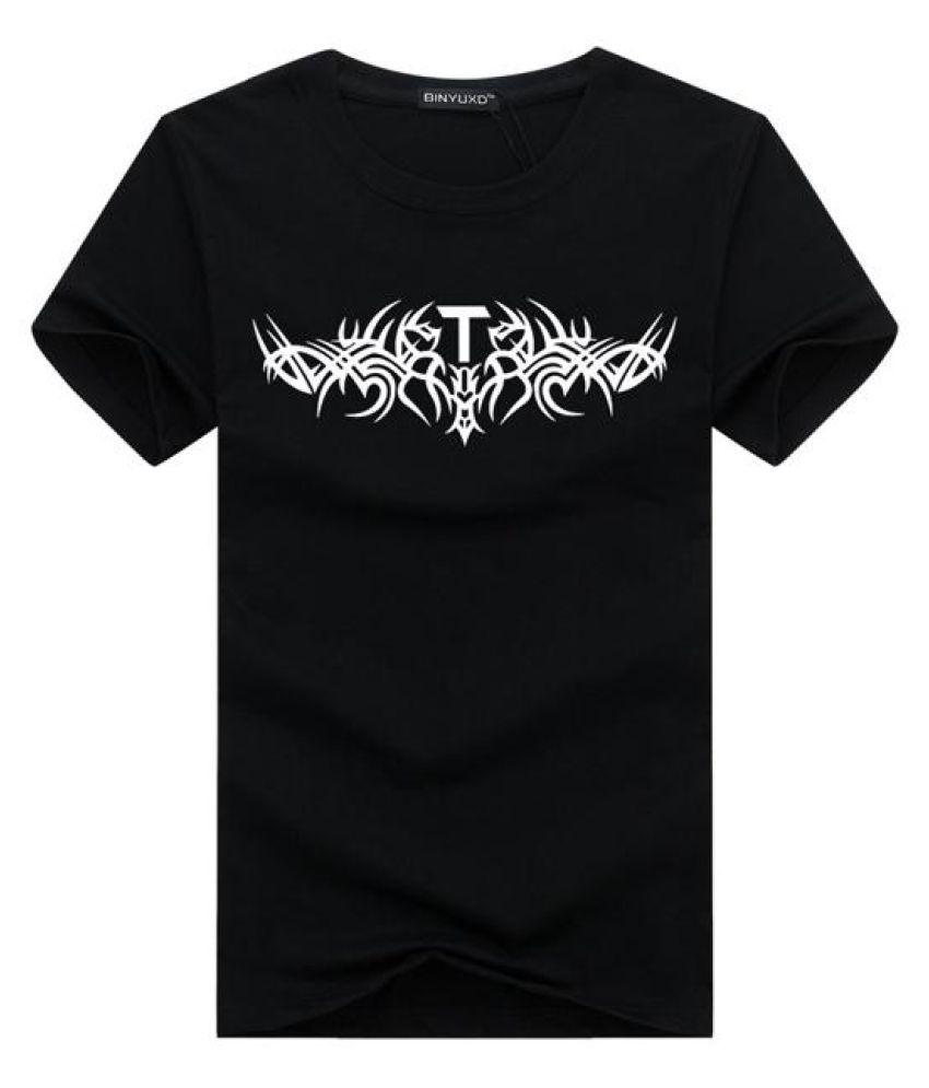 Mens Fashion Casual Printing Tees Short Sleeve Cotton Round Neck Slim Fit T-shirt