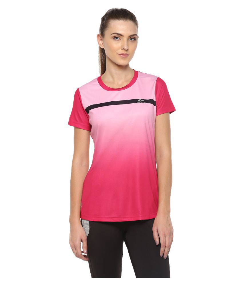 Nivia Ombre Women Round Neck Pink T-Shirt
