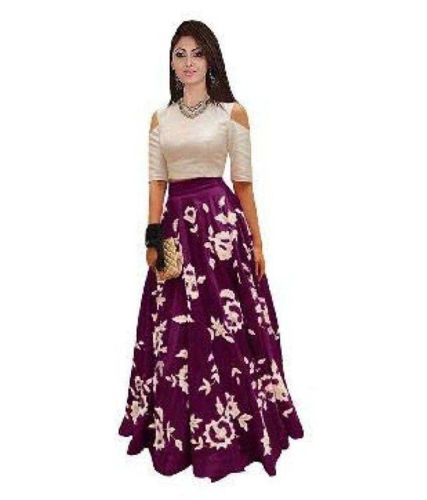 DHARMEE Purple Cotton Silk Sharara Semi Stitched Lehenga