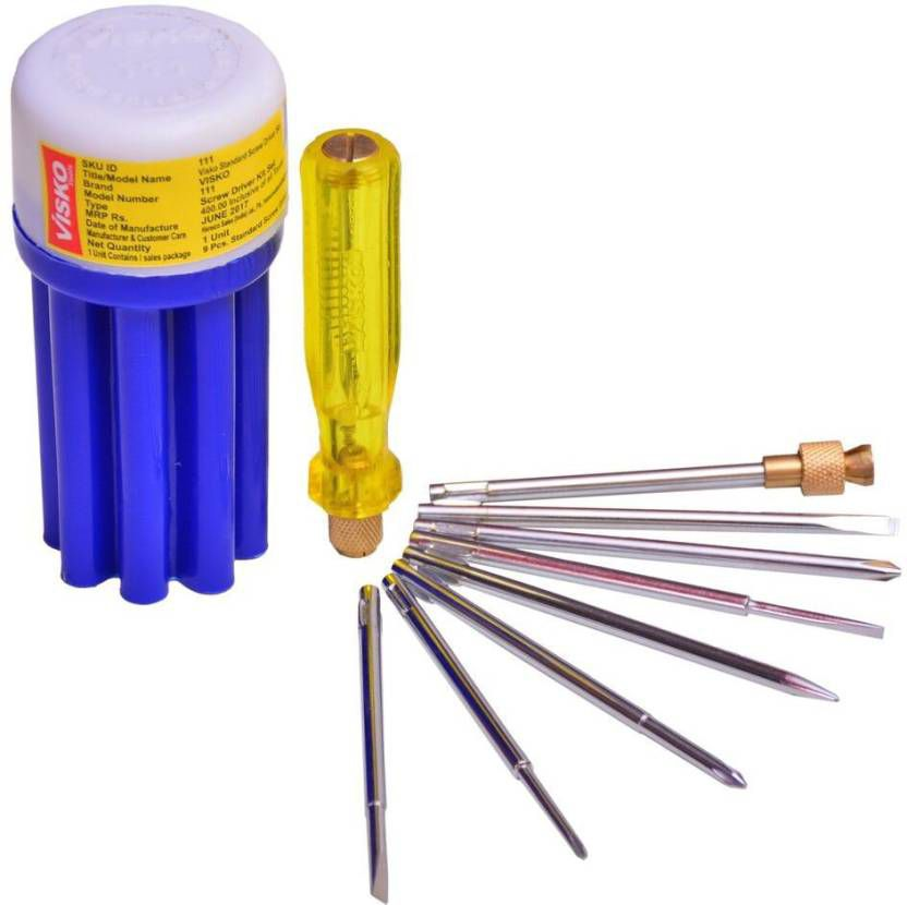 Visko Tools 111 8 Blades Combination Screw Driver Set with Tester (Blue and White, 9-Pieces)