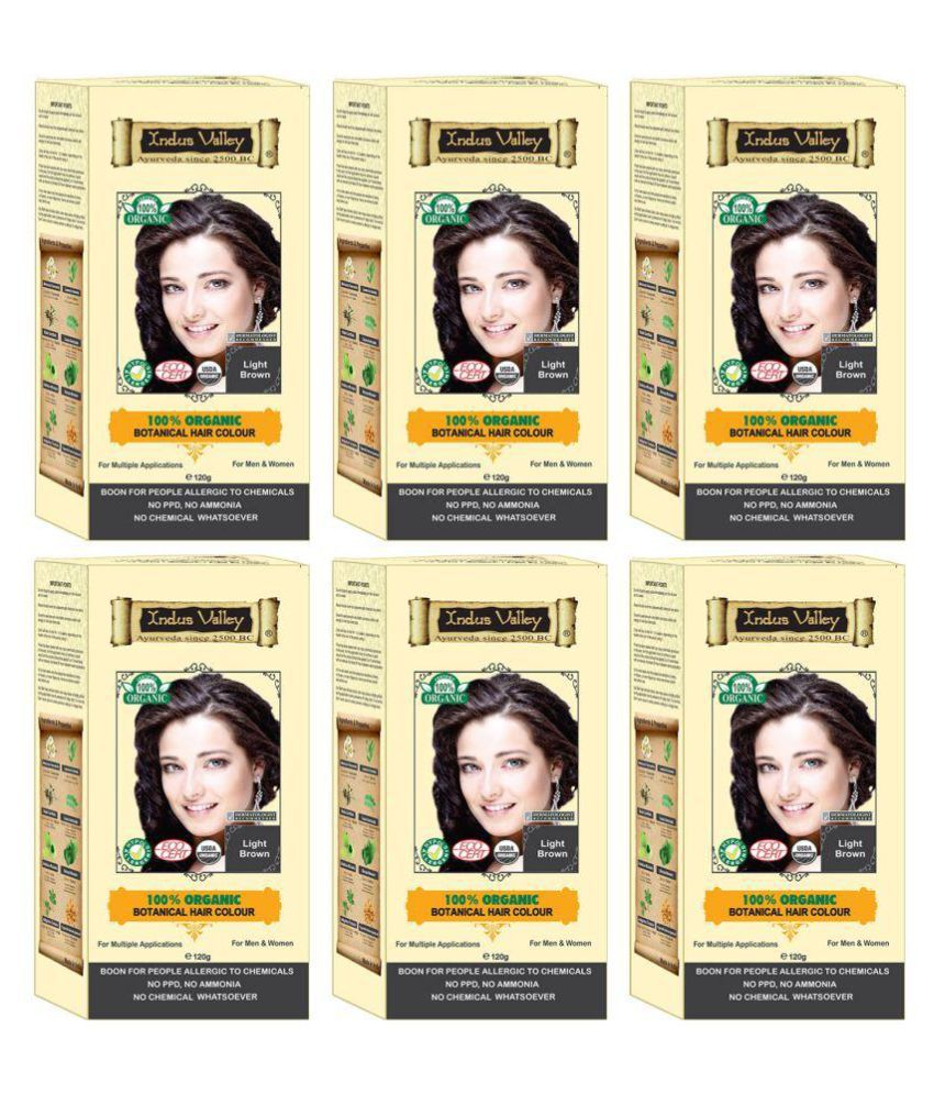 Indus Valley 100% Botanical Hair Colour For Sensitive Skin Semi Permanent Hair Color Light Brown 720 gm Pack of 6