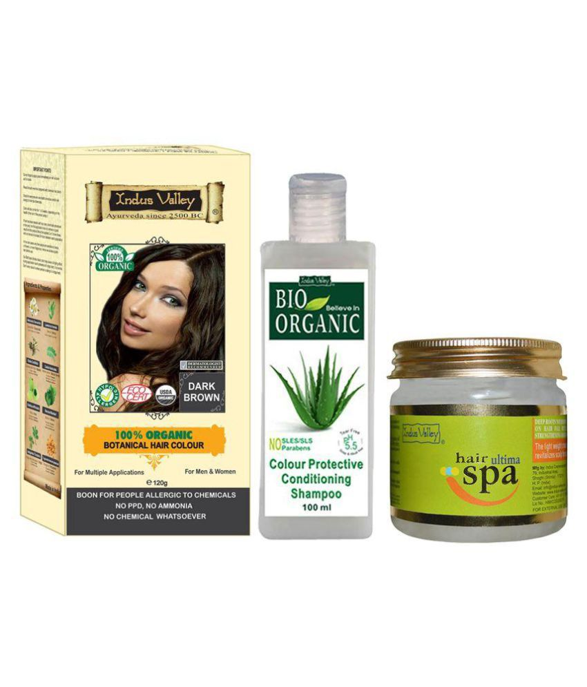 Indus Valley Botanical Dark Brown Hair Color With Ultima Spa & Colour Protective Shampoo For Allergic Sufferers