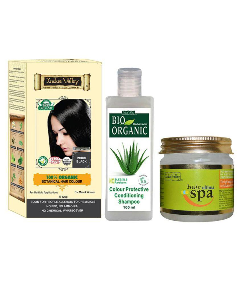 Indus Valley Botanical Indus Black Hair Color With Ultima Spa & Colour Protective Shampoo For Allergic Sufferers
