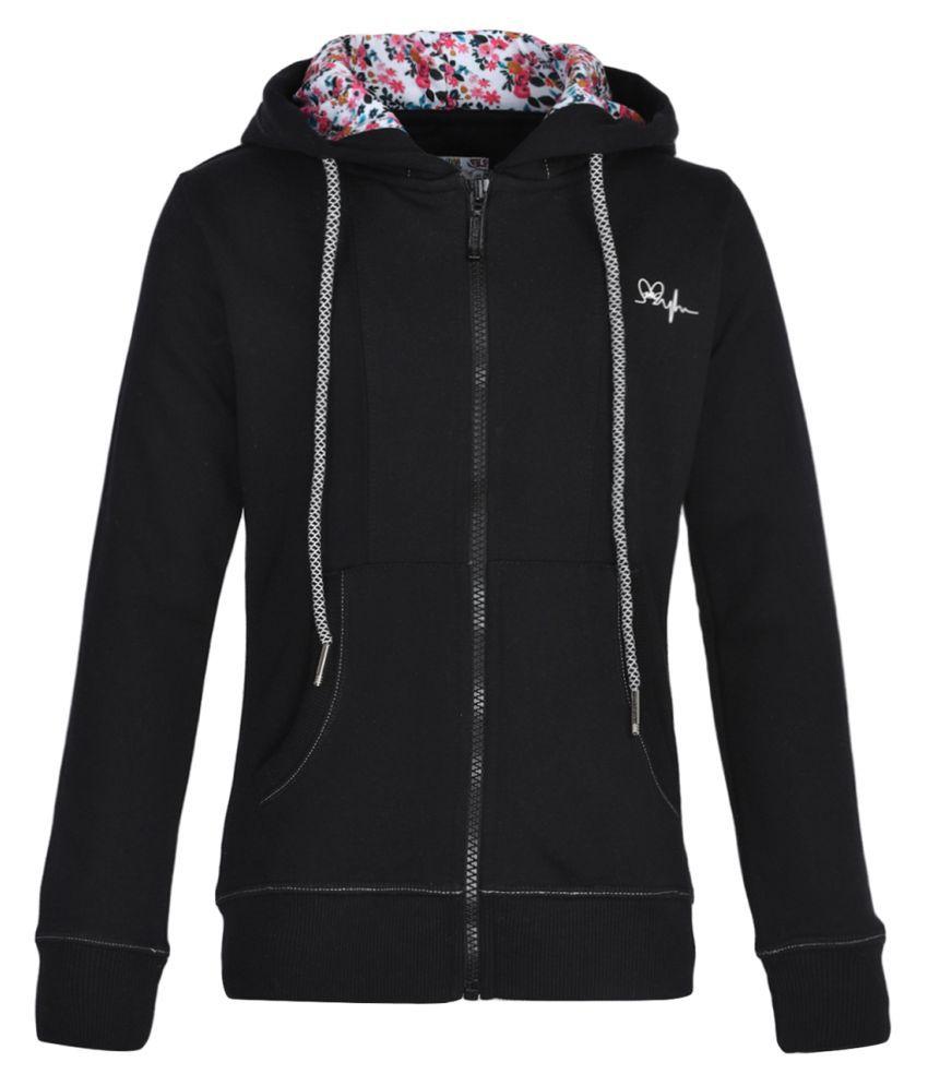 Monte Carlo Black Solid Cotton Hood Sweatshirts