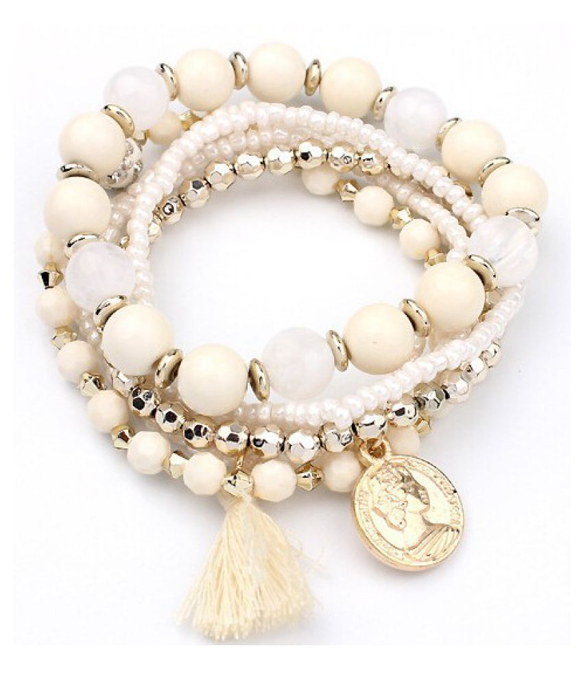 YOLO Fashion Beauty Head Coin Multi-layer Rice Beads Metal Tassel Bracelet Jewellry Accessories