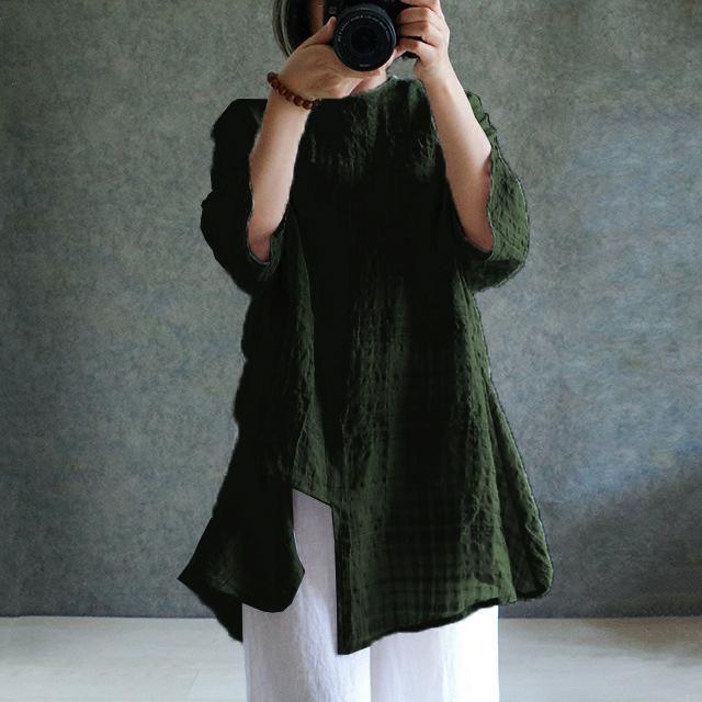 19a136db8ef1 S-5XL Summer Women Cotton Linen Batwing Sleeve Asymmetry Loose Tops Blouse  Shirt ...