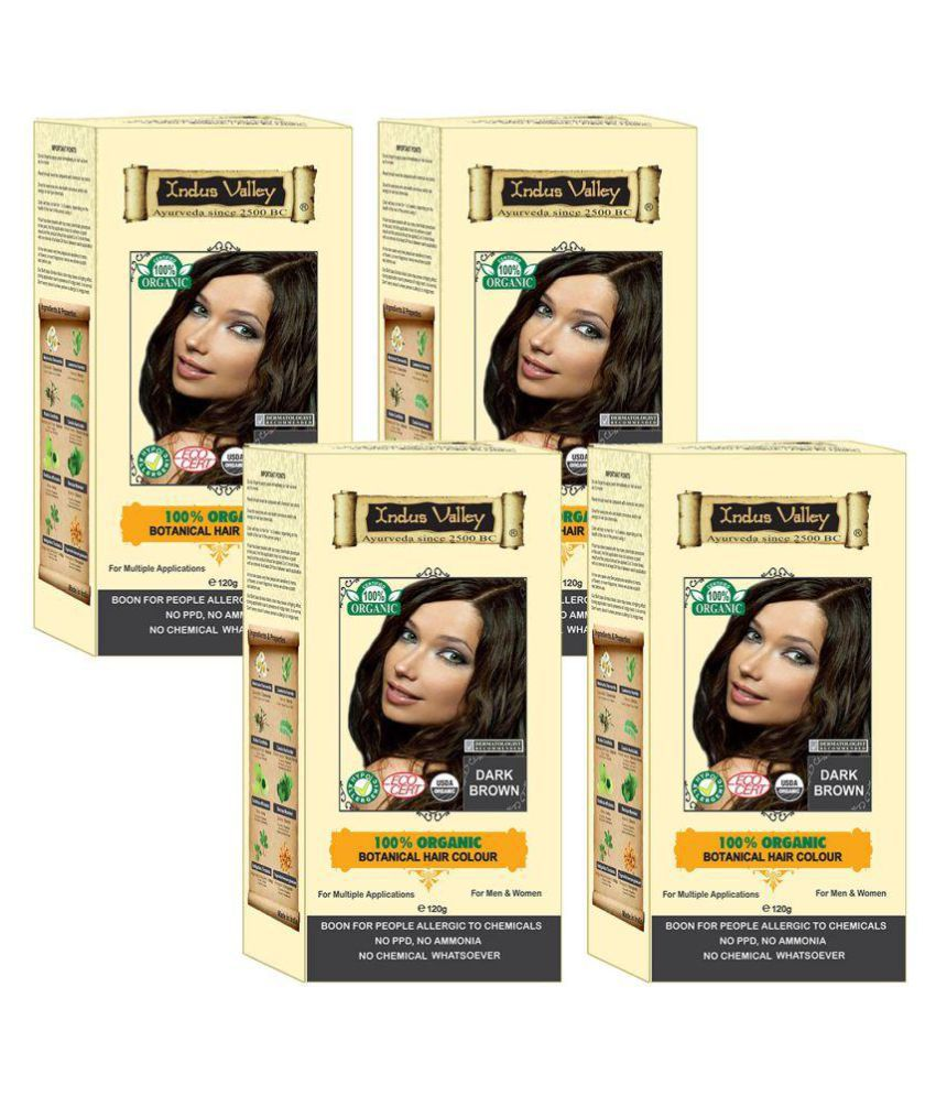 Indus Valley 100% Botanical 100% Certified For Allergic Sufferers Semi Permanent Hair Color Dark Brown 480 gm Pack of 4