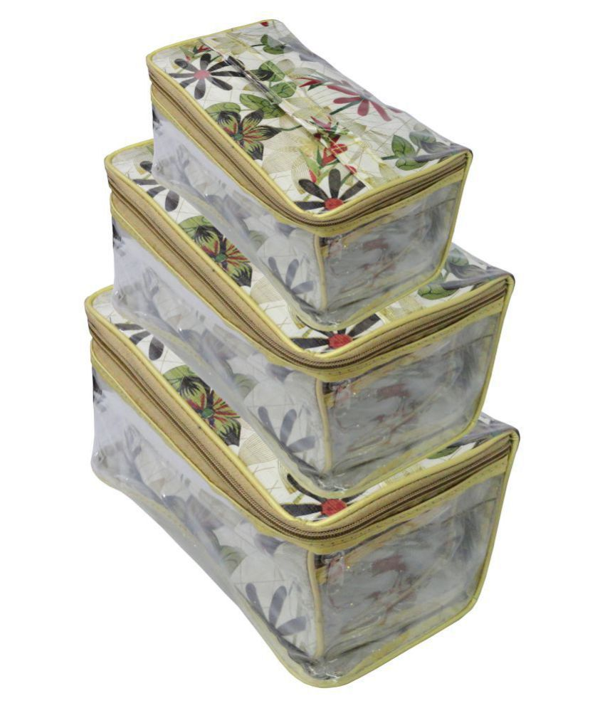 atorakushon® Set of Three Flower print Vanity cosmetic toiletary Wardrobe Organiser/Regular Makeup storage jewellery Vanity Boxfor Women Girls make up kit(Printed)
